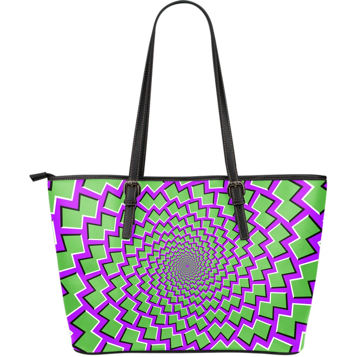Green Shapes Moving Optical Illusion Leather Tote Bag GearFrost