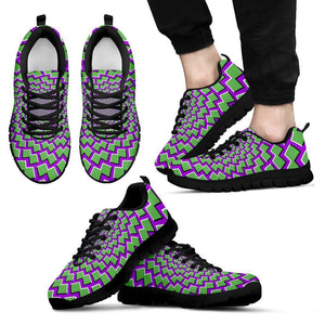 Green Shapes Moving Optical Illusion Men's Sneakers GearFrost