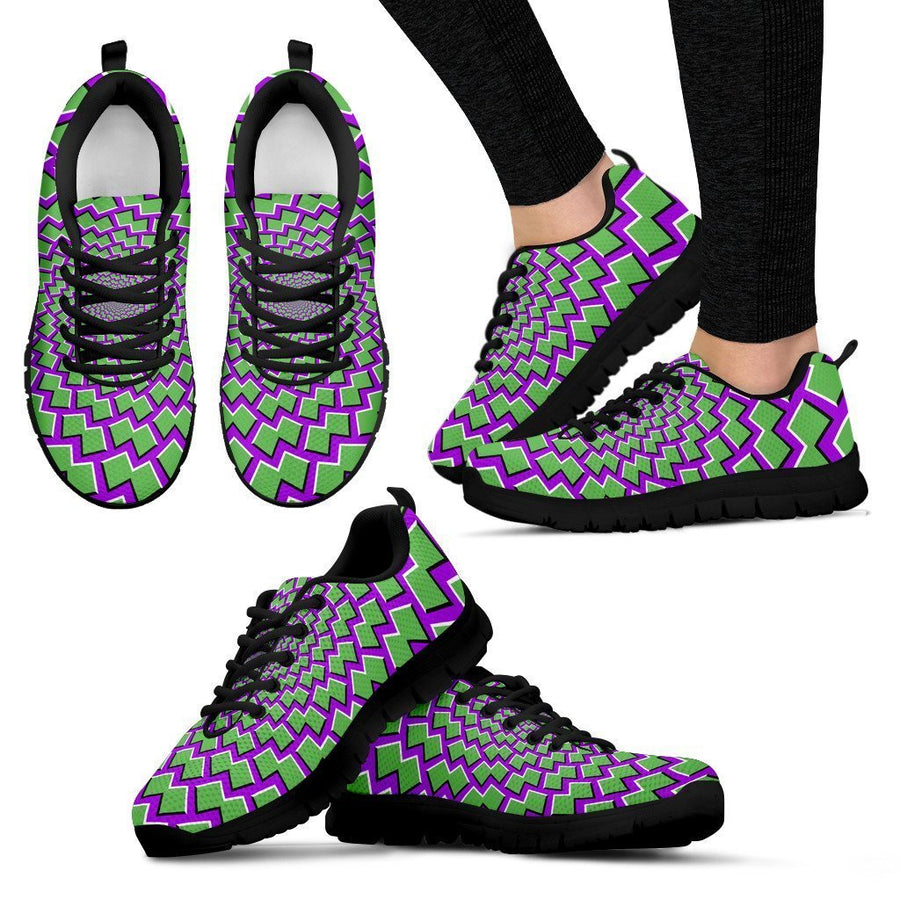 Green Shapes Moving Optical Illusion Women's Sneakers GearFrost