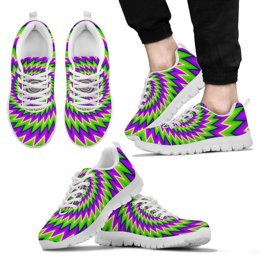 Green Spiral Moving Optical Illusion Men's Sneakers GearFrost