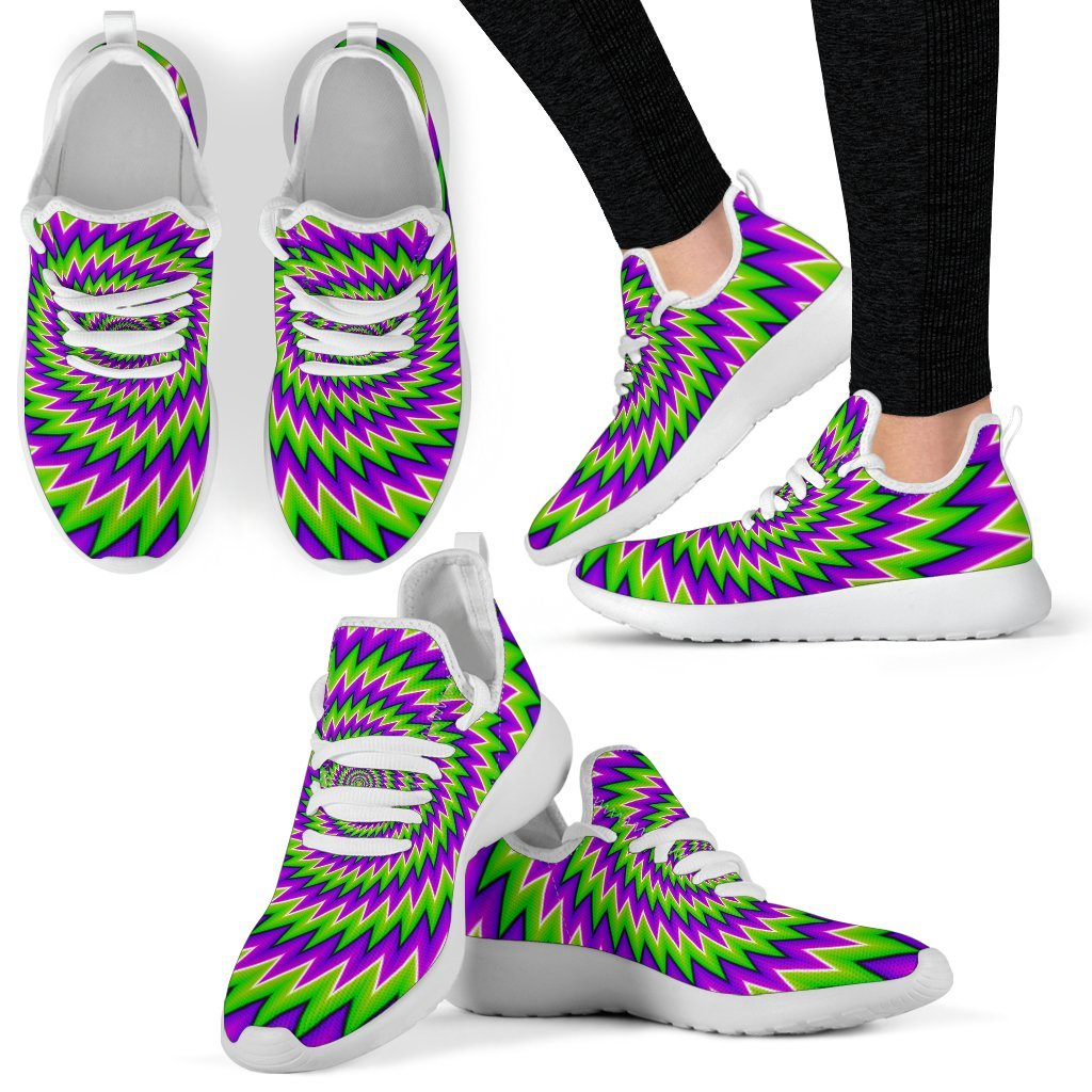 Green Spiral Moving Optical Illusion Mesh Knit Shoes GearFrost
