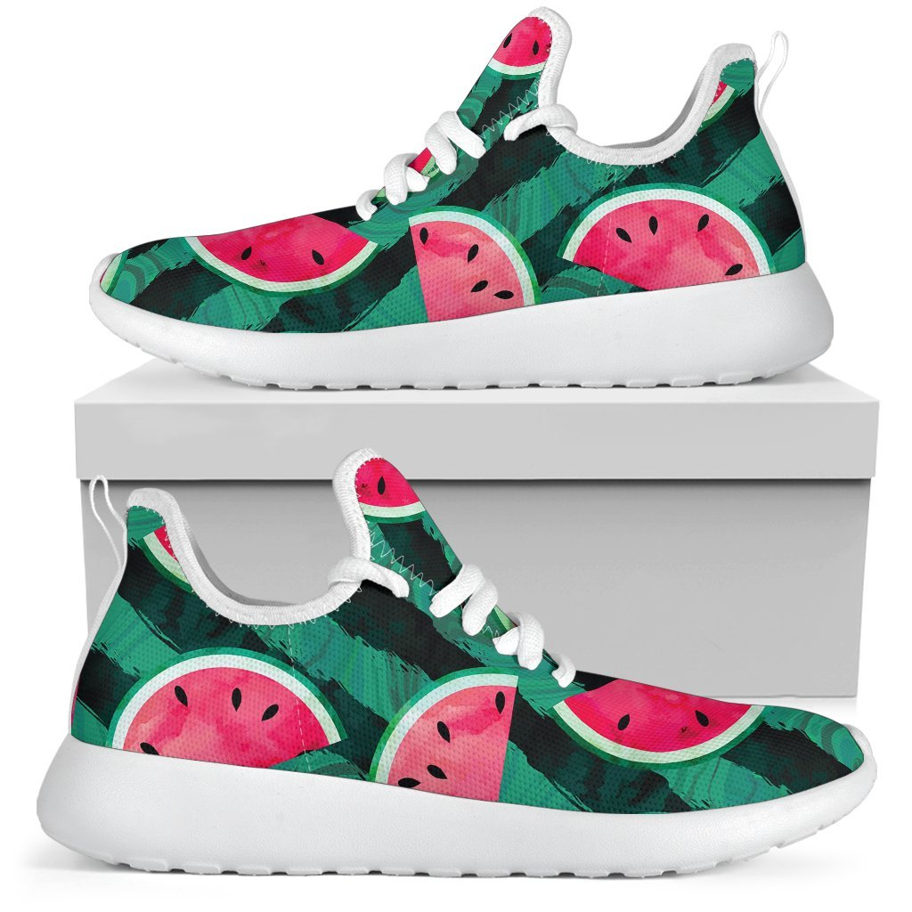 Green Striped Watermelon Pattern Print Mesh Knit Shoes GearFrost