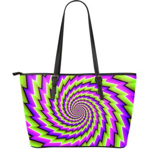 Green Twisted Moving Optical Illusion Leather Tote Bag GearFrost
