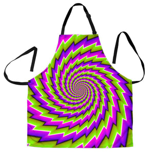 Green Twisted Moving Optical Illusion Men's Apron GearFrost