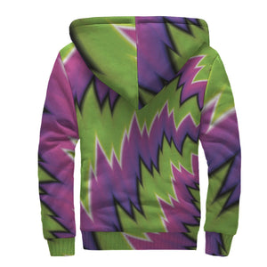 Green Vortex Moving Optical Illusion Sherpa Lined Fleece Hoodie GearFrost