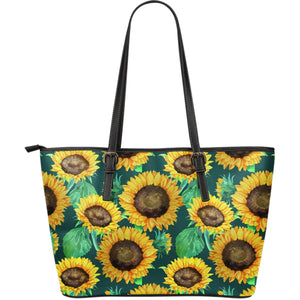 Green Watercolor Sunflower Pattern Print Leather Tote Bag GearFrost