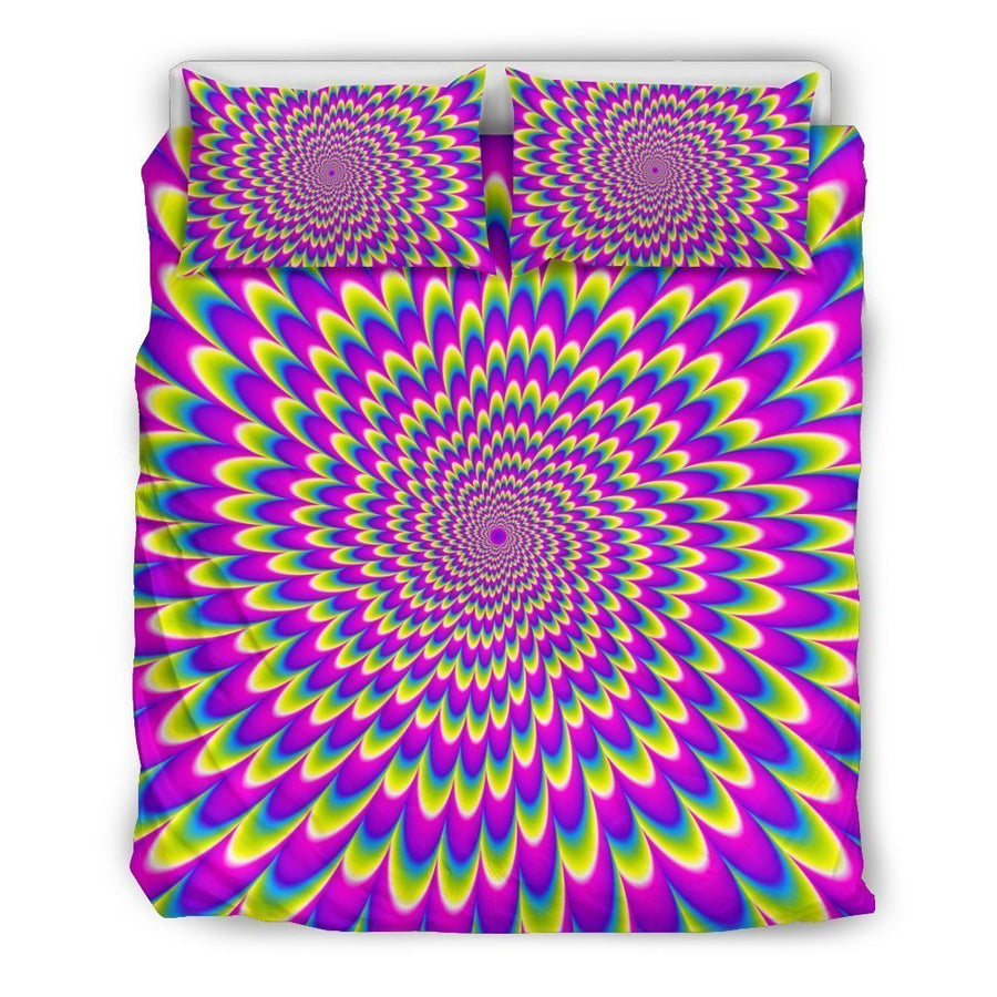 Green Wave Moving Optical Illusion Duvet Cover Bedding Set GearFrost