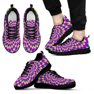 Green Wave Moving Optical Illusion Men's Sneakers GearFrost