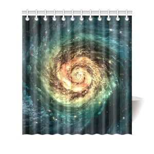 Green Yellow Spiral Galaxy Space Print Bathroom Shower Curtain GearFrost