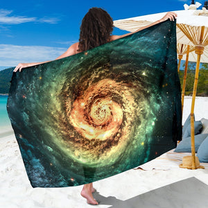 Green Yellow Spiral Galaxy Space Print Beach Sarong Wrap GearFrost