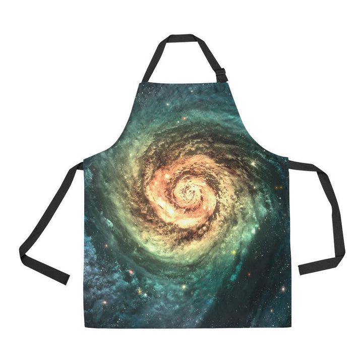 Green Yellow Spiral Galaxy Space Print Bib Apron With Pockets GearFrost