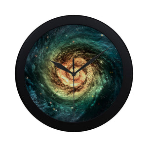 Green Yellow Spiral Galaxy Space Print Black Wall Clock GearFrost