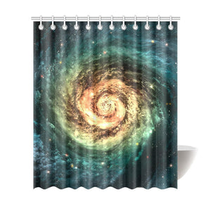Green Yellow Spiral Galaxy Space Print Extra Long Shower Curtain GearFrost
