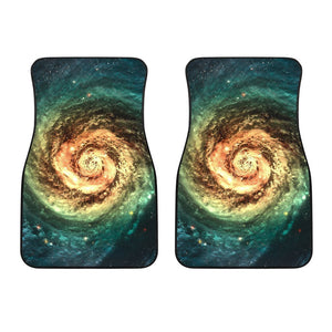 Green Yellow Spiral Galaxy Space Print Front Car Floor Mats GearFrost