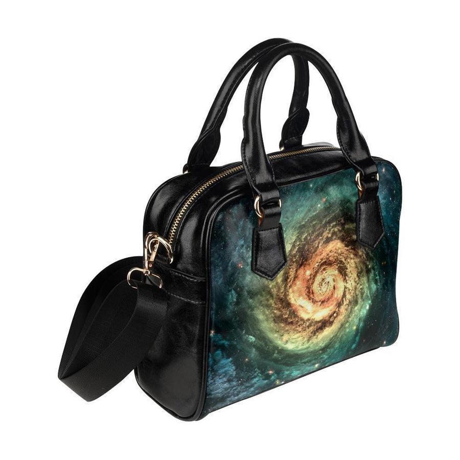 Green Yellow Spiral Galaxy Space Print Leather Shoulder Handbag GearFrost