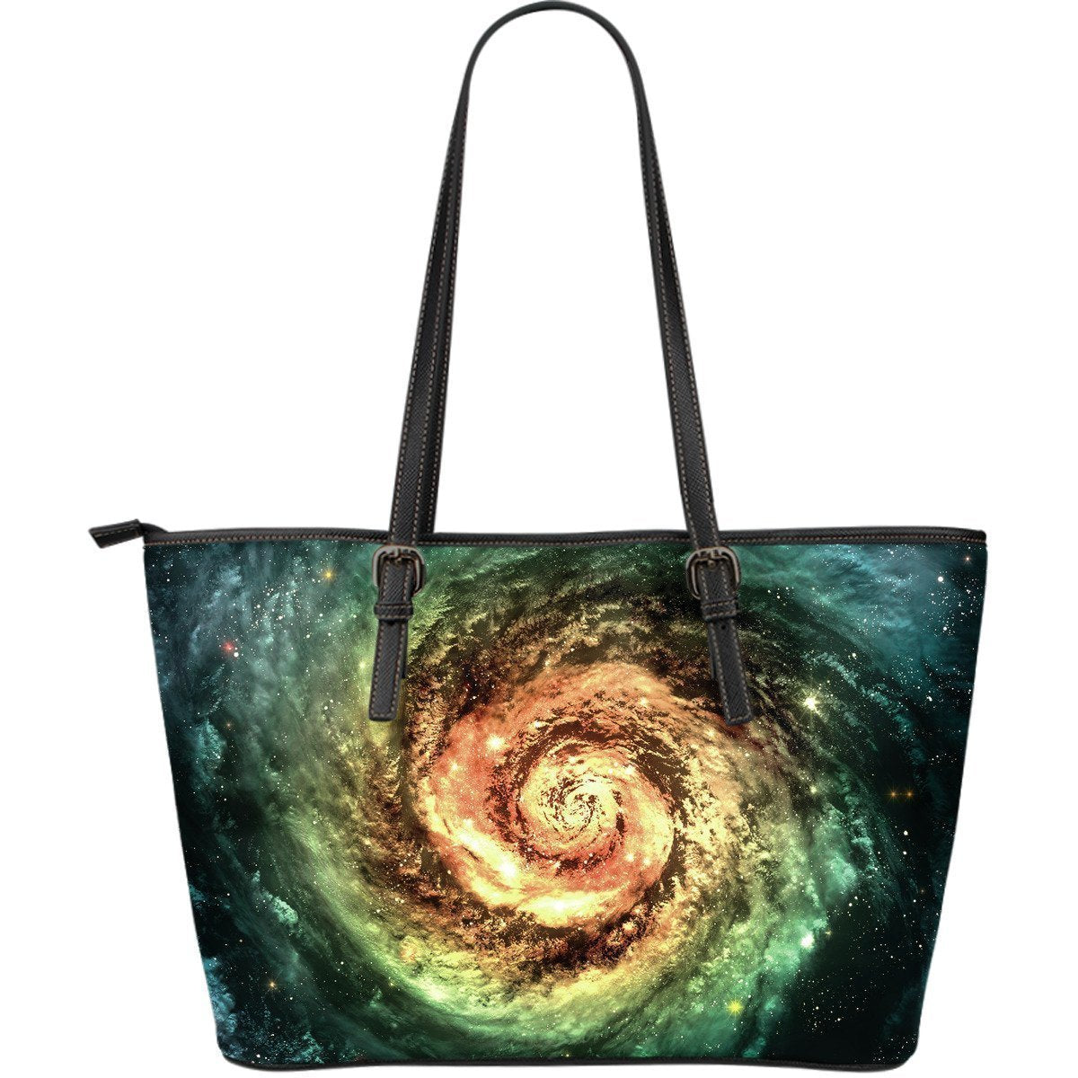 Green Yellow Spiral Galaxy Space Print Leather Tote Bag GearFrost