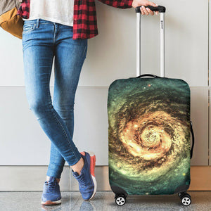 Green Yellow Spiral Galaxy Space Print Luggage Cover GearFrost