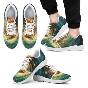 Green Yellow Spiral Galaxy Space Print Men's Athletic Shoes GearFrost