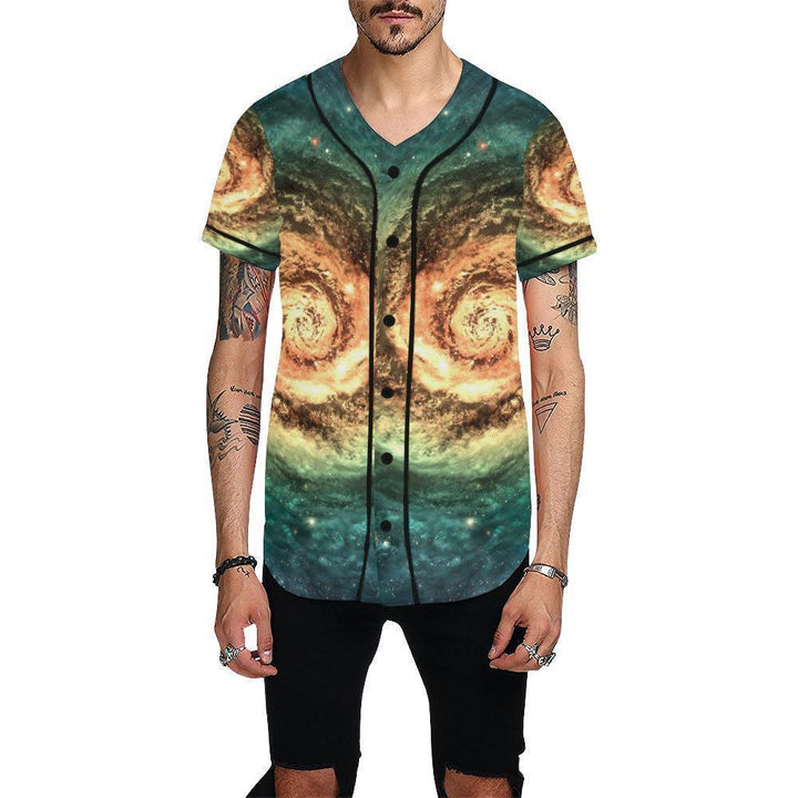 Green Yellow Spiral Galaxy Space Print Men's Baseball Jersey GearFrost