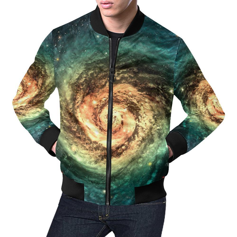Green Yellow Spiral Galaxy Space Print Men's Bomber Jacket GearFrost