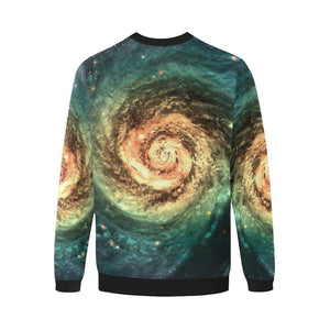 Green Yellow Spiral Galaxy Space Print Men's Crewneck Sweatshirt GearFrost