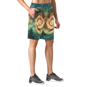 Green Yellow Spiral Galaxy Space Print Men's Elastic Board Shorts GearFrost