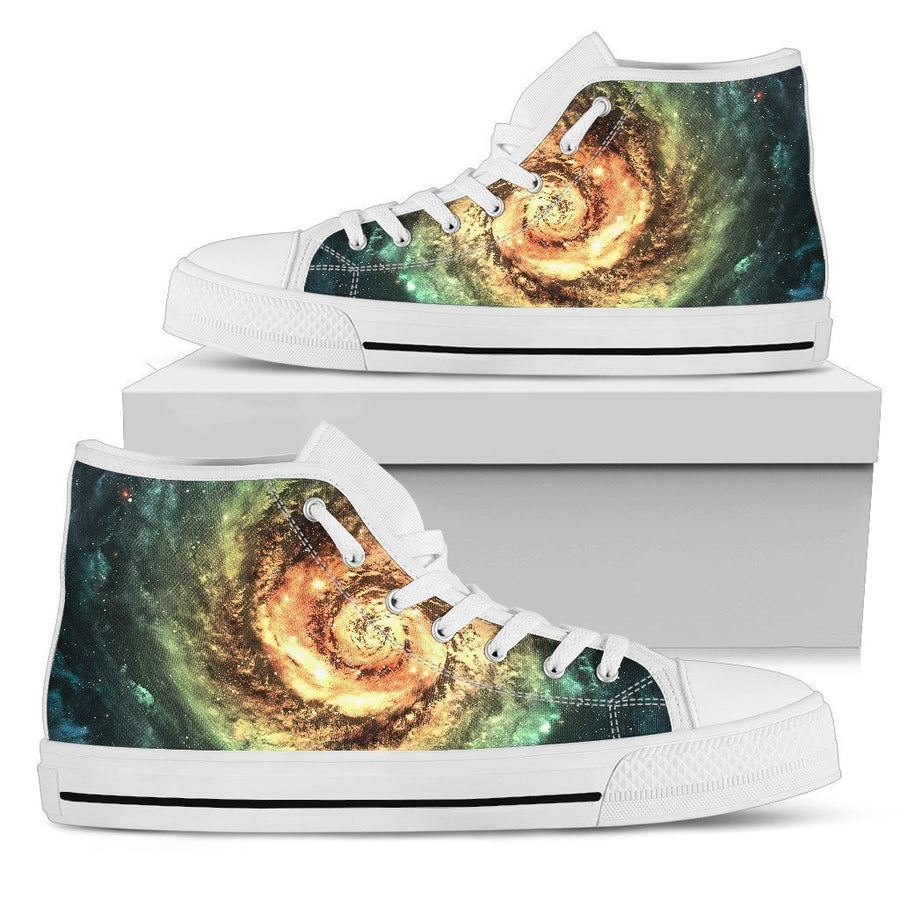 Green Yellow Spiral Galaxy Space Print Men's High Top Shoes GearFrost