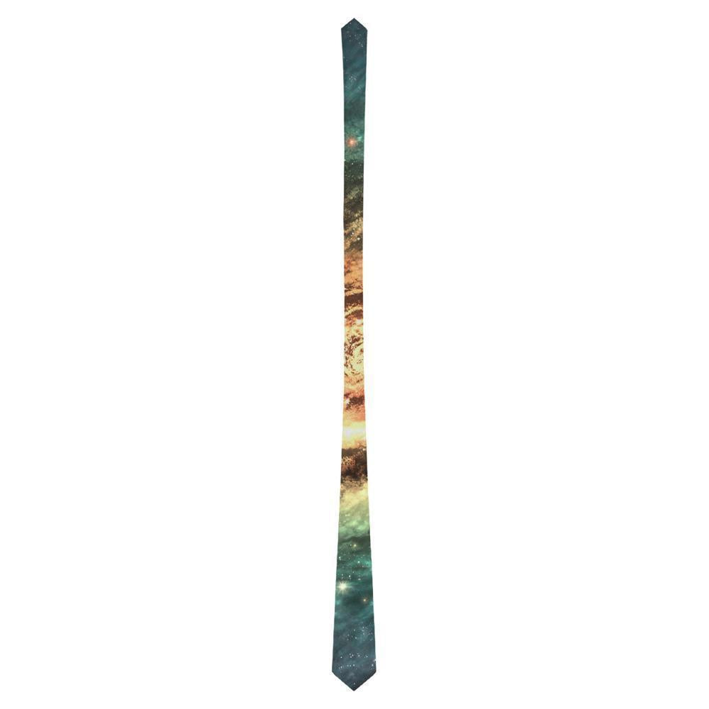Green Yellow Spiral Galaxy Space Print Men's Necktie GearFrost