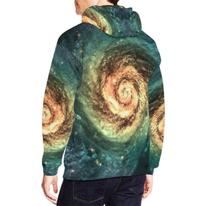 Green Yellow Spiral Galaxy Space Print Men's Pullover Hoodie GearFrost