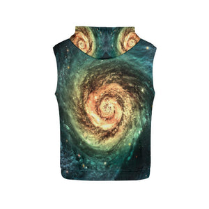 Green Yellow Spiral Galaxy Space Print Men's Sleeveless Hoodie GearFrost