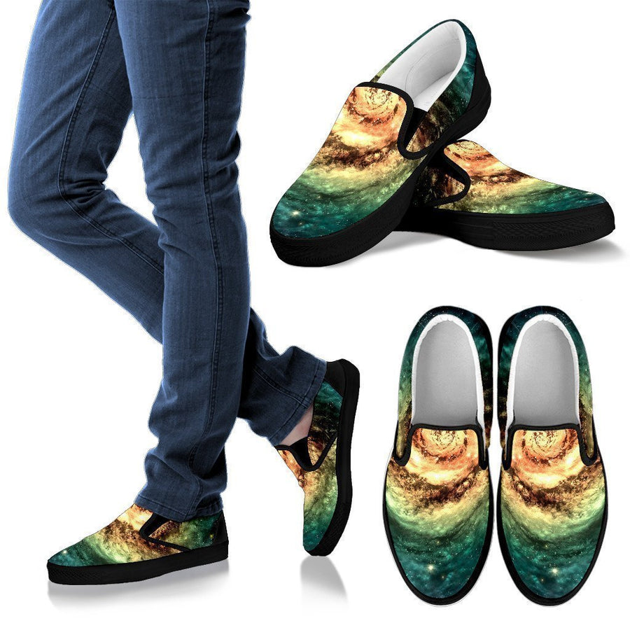 Green Yellow Spiral Galaxy Space Print Men's Slip On Shoes GearFrost