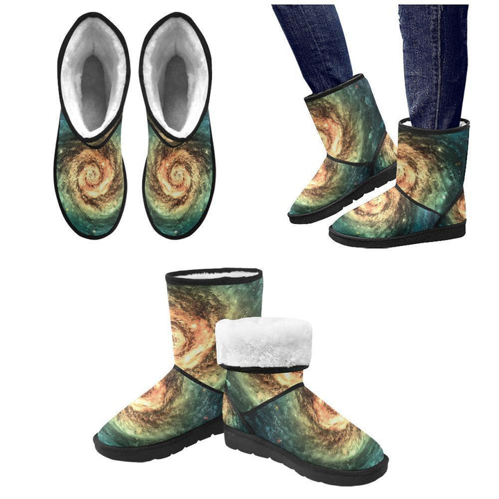 Green Yellow Spiral Galaxy Space Print Men's Snow Boots GearFrost