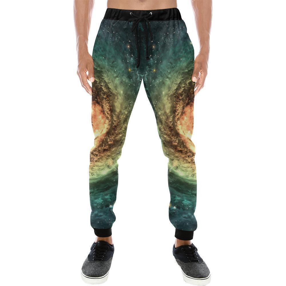Green Yellow Spiral Galaxy Space Print Men's Sweatpants GearFrost