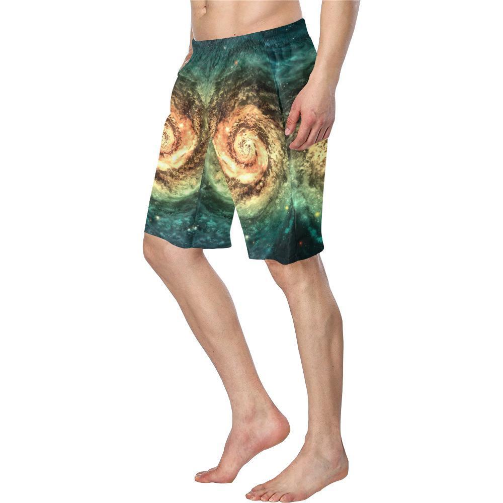 Green Yellow Spiral Galaxy Space Print Men's Swim Trunks GearFrost