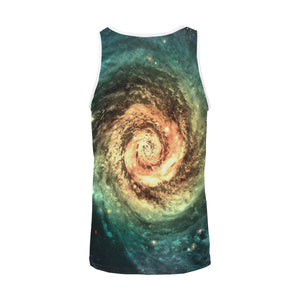 Green Yellow Spiral Galaxy Space Print Men's Tank Top GearFrost