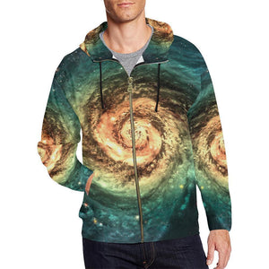 Green Yellow Spiral Galaxy Space Print Men's Zip Up Hoodie GearFrost