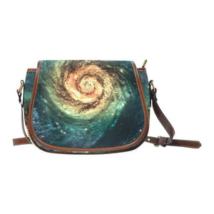 Green Yellow Spiral Galaxy Space Print Saddle Bag Crossbody Purse GearFrost
