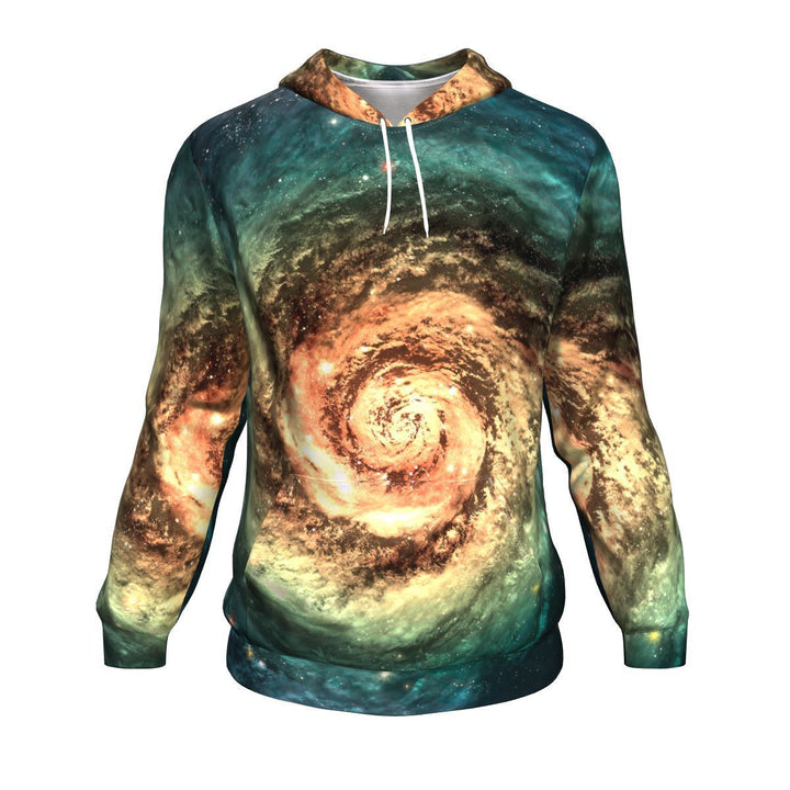 Green Yellow Spiral Galaxy Space Print Unisex Pullover Hoodie GearFrost