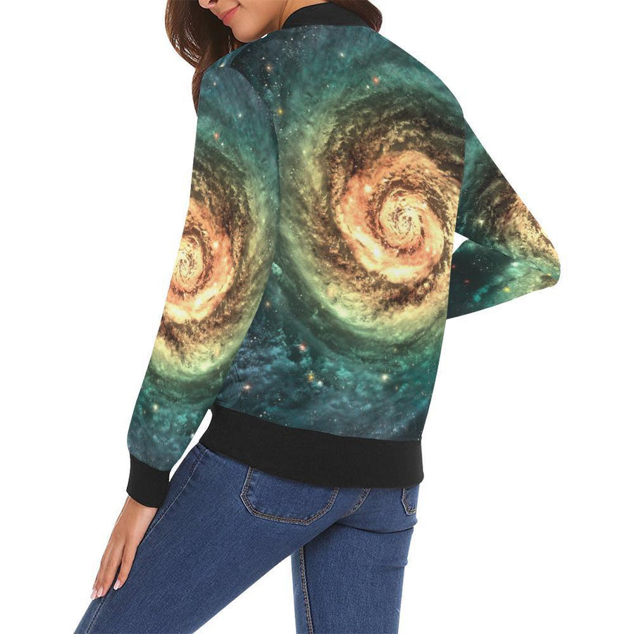 Green Yellow Spiral Galaxy Space Print Women's Bomber Jacket GearFrost