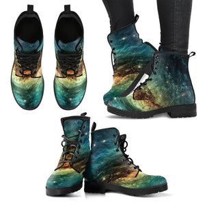 Green Yellow Spiral Galaxy Space Print Women's Boots GearFrost