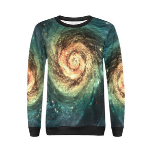 Green Yellow Spiral Galaxy Space Print Women's Crewneck Sweatshirt GearFrost