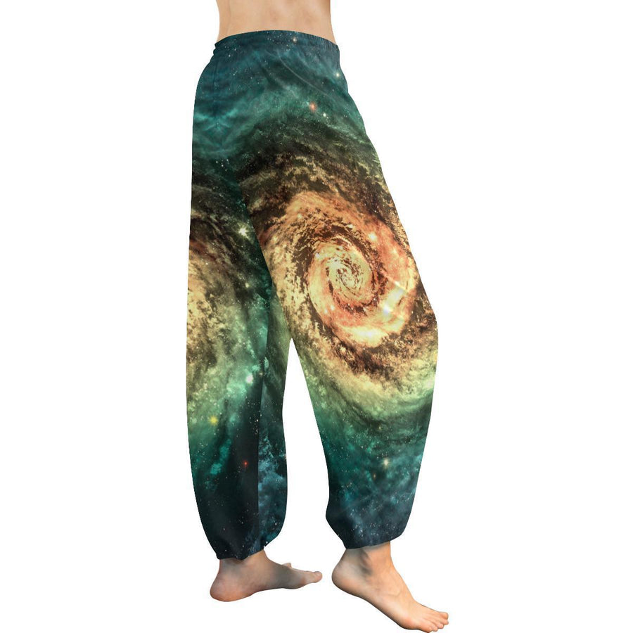 Green Yellow Spiral Galaxy Space Print Women's Harem Pants GearFrost
