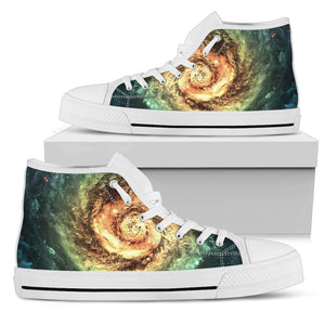 Green Yellow Spiral Galaxy Space Print Women's High Top Shoes GearFrost