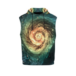 Green Yellow Spiral Galaxy Space Print Women's Sleeveless Hoodie GearFrost
