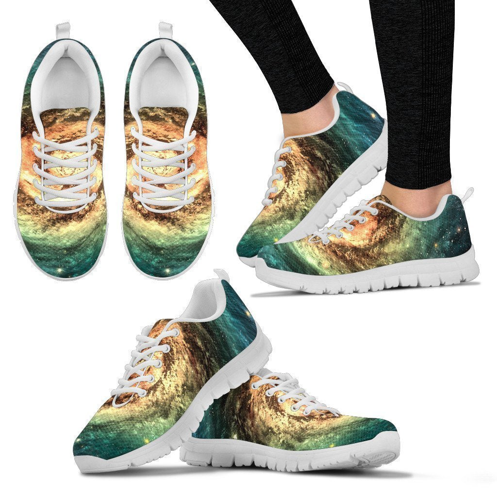 Green Yellow Spiral Galaxy Space Print Women's Sneakers GearFrost