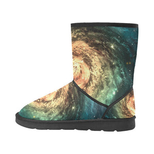 Green Yellow Spiral Galaxy Space Print Women's Snow Boots GearFrost
