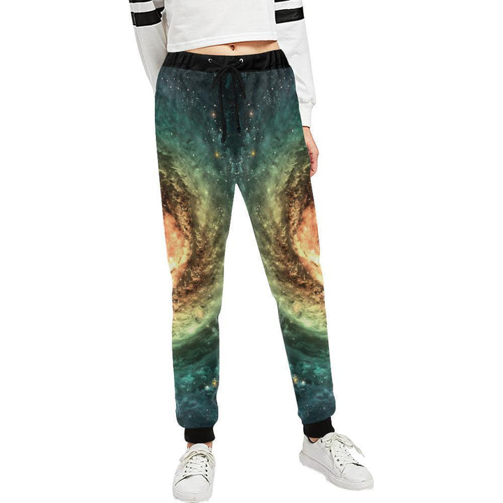 Green Yellow Spiral Galaxy Space Print Women's Sweatpants GearFrost
