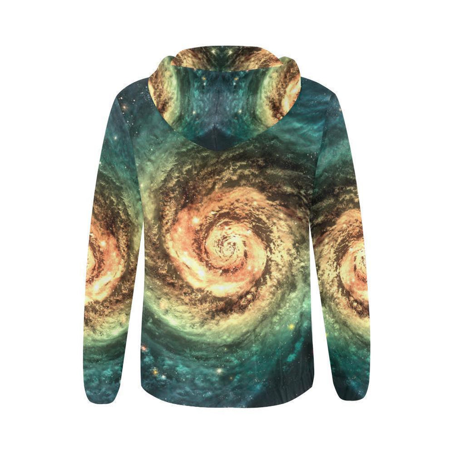 Green Yellow Spiral Galaxy Space Print Women's Zip Up Hoodie GearFrost