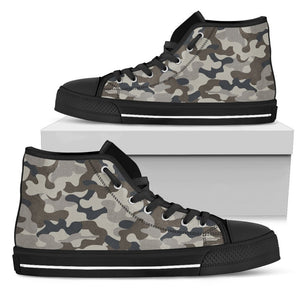 Grey And Brown Camouflage Print Men's High Top Shoes GearFrost