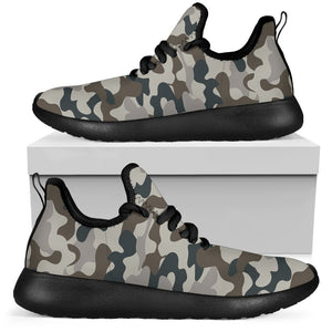 Grey And Brown Camouflage Print Mesh Knit Shoes GearFrost